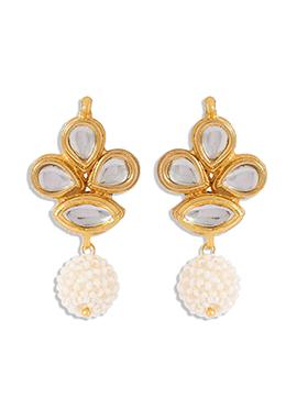 Golden N White Drops Earring