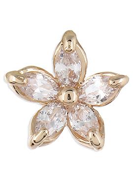 Golden N White Floral Stone Ornate Ear Cuff