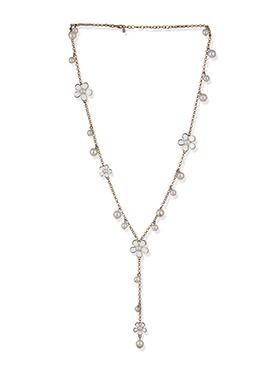 Golden N White Moti Studded Necklace