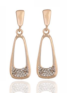 Golden N White Stone Dangler Earring