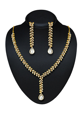 Golden N White Stone Necklace Set
