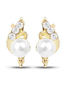 Golden N White Stud Earring