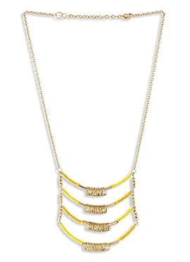 Golden N Yellow Beads Chain Necklace