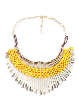 Golden N Yellow Thread Necklace
