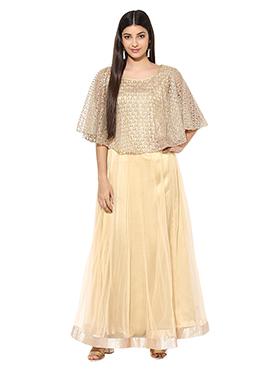 Golden Net Cape Anarkali Suit