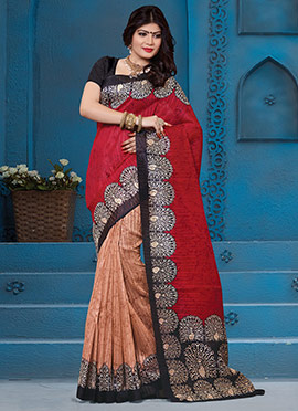Golden Ochre N Regal Red Half N Half Saree