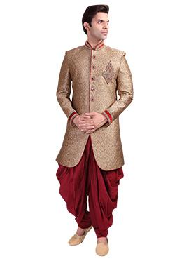 Golden Patiala Style Sherwani