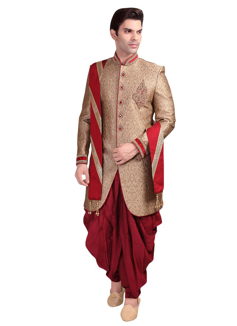 Buy Golden Patiala Style Sherwani Zardosi Stones Brocade Classic Sherwani Online Shopping