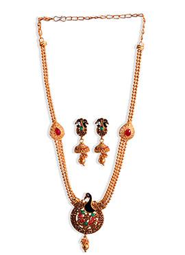 Golden Peacock Motifs Necklace Set