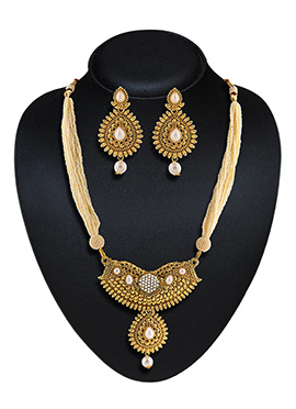 Golden Plated Beads Necklace Set