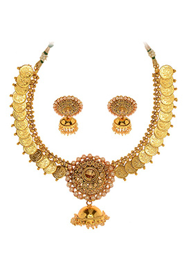 Golden Plated Coin Style Necklace Set