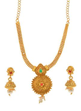 Golden Plated Green Kundan Necklace Set