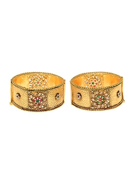 Golden Plated Green Stone Bangles