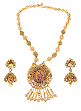 Golden Plated Human Motifs Necklace Set