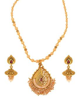 Golden Plated Maroon Kundan Necklace Set