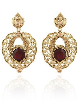 Golden Plated Maroon Stone Dangler Earring