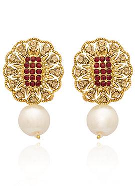 Golden Plated Maroon Stone Drop Earring