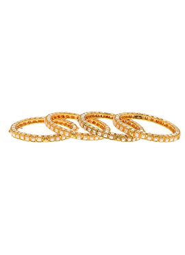 Golden Plated Off White Beads Bangles