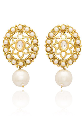 Golden Plated Off White Beads Drop Earring