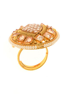 Golden Plated Peach Stone Ring