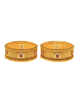 Golden Plated Pink Stone Bangles