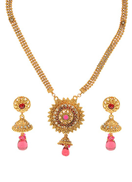 Golden Plated Red Polki Necklace Set