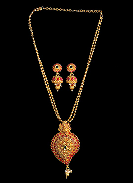 Golden Plated Red Stone Necklace Set