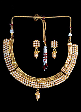 Golden Plated White Beads Necklace Set