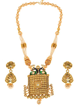 Golden Plated White Kundan Necklace Set