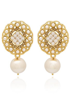 Golden Plated White Stone Drop Earring
