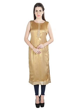 Golden Shimmer Georgette Kurti