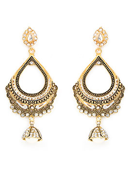 Golden Stone Studded Foliage Designed Drop Earrings