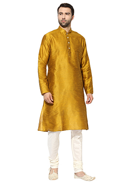 Golden Yellow Art Dupion Silk Kurta