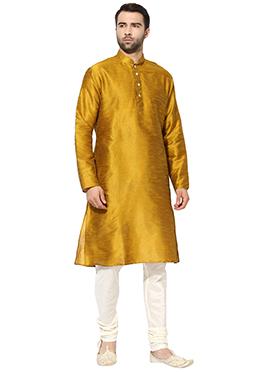 Golden Yellow Art Dupion Silk Kurta Pyjama