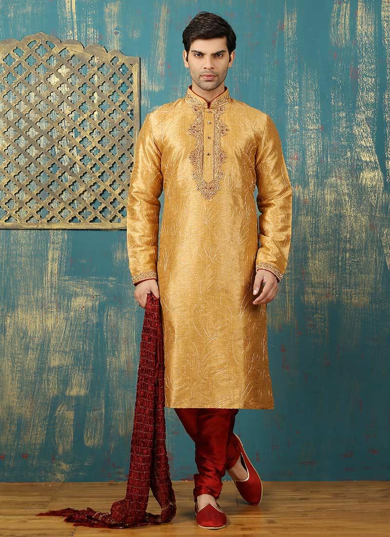 9721d16143 Buy Golden Yellow Art Dupion Silk Kurta Pyjama, Embroidered ...
