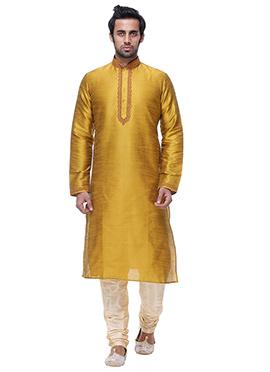 Golden Yellow Art Silk Kurta Pyjama