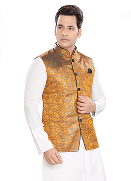 Golden Yellow Brocade Nehru Jacket