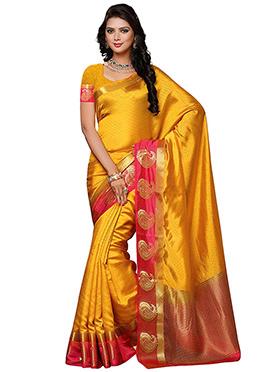 Golden Yellow Kancheepuram Art Silk Saree