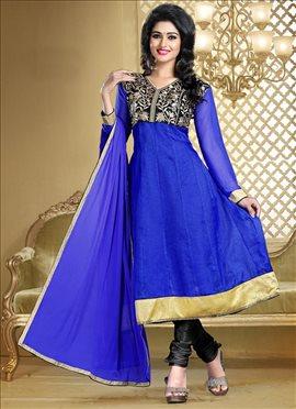 Graceful Blue Kota Kalidar Suit