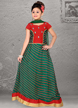 Grand Green Art Silk Teens Lehenga Choli