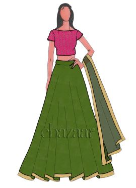 Grasshopper Dupion Silk Umbrella Lehenga Set