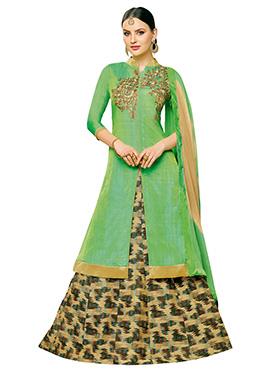 Green Art Silk A Line Lehenga