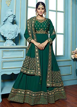 Green Abaya Style Anarkali Suit