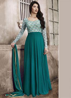 Green Abaya Style Cape Anarkali Suit