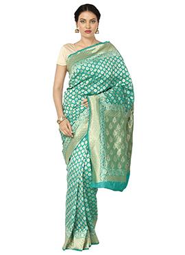 Green Art Benarasi Kora Silk Saree