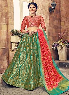 Green Art Benarasi Silk A Line Lehenga