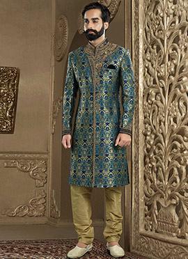 Green Art Benarasi Silk Chipkan Sherwani