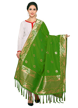 Green Art Benarasi Silk Dupatta