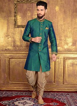 Green Art Benarasi Silk Indowestern Sherwani