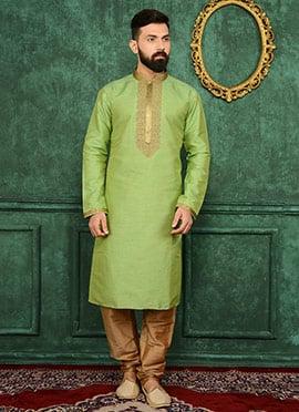 Green Art Benarasi Silk Kurta Pyjama
